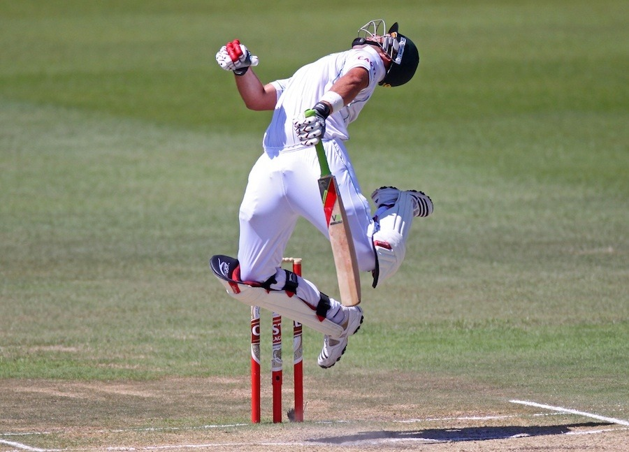 Jacques Kallis of South Africa getting ruffled by a bouncer