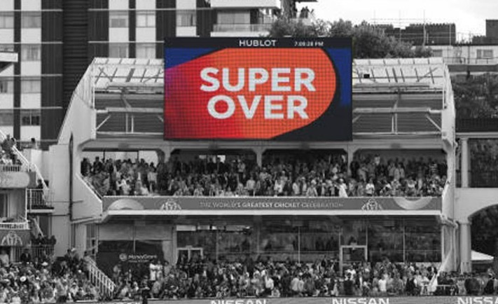 Digital Scoreboard displaying Super Over during a Cricket Match