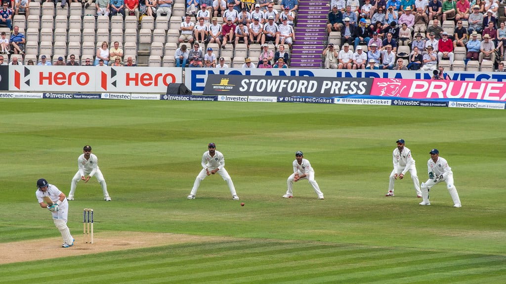 The fielders in the slips position watch as England's Ian Bell flicks the ball on the leg side