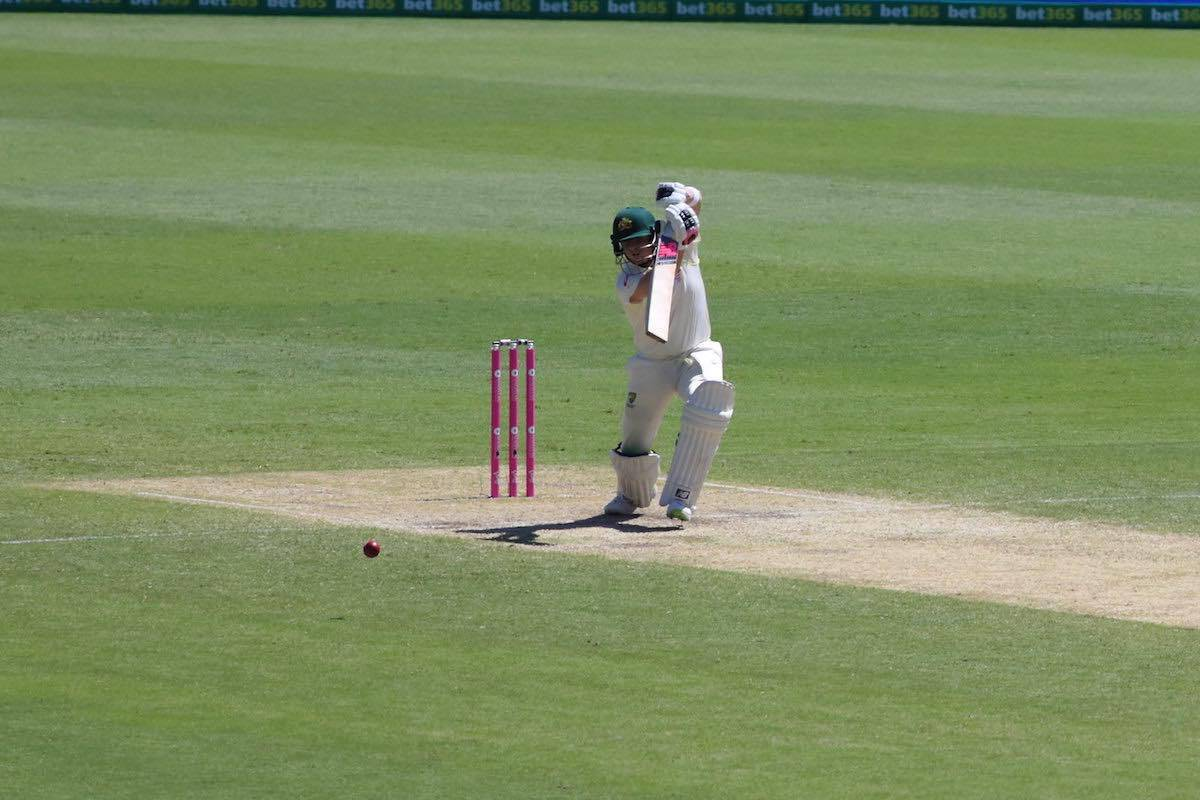 Steve Smith plays a Cover Drive