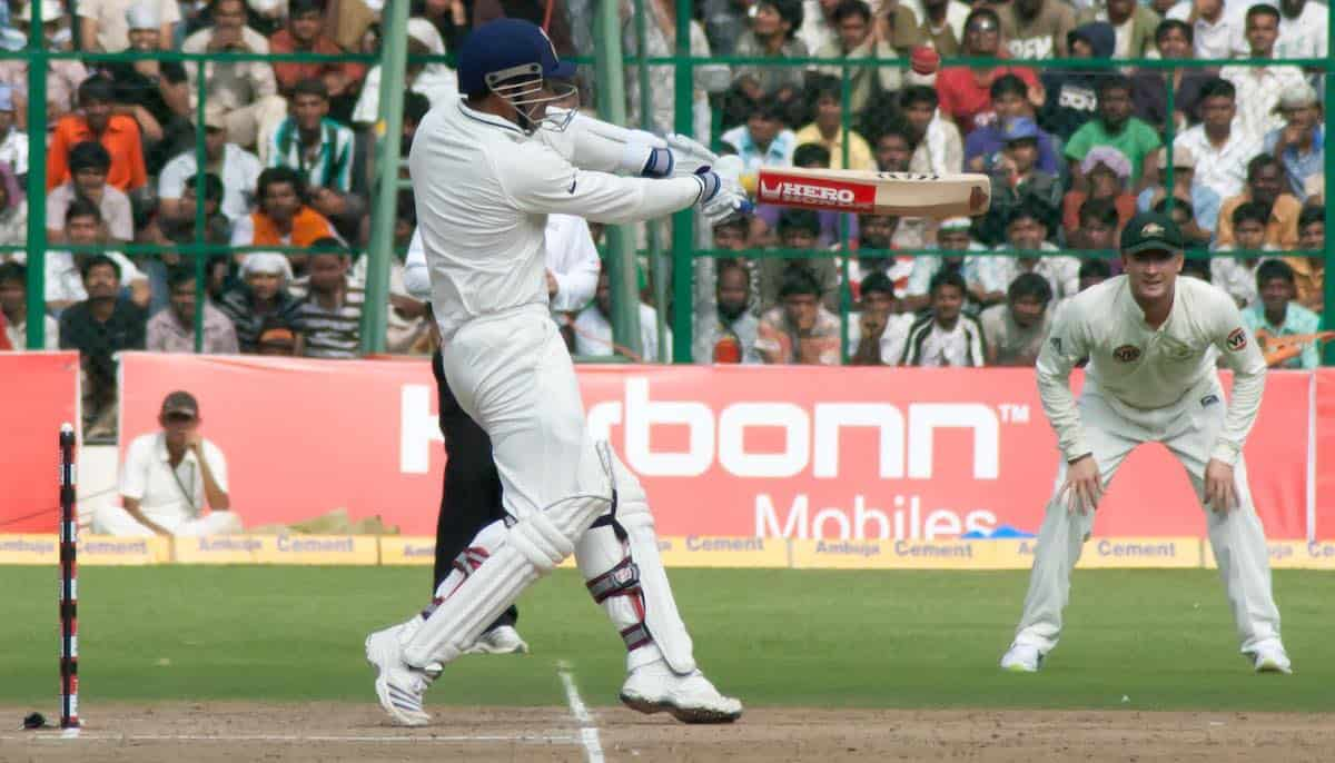 India's Virendra Sehwag plays a pull shot in a match against Australia